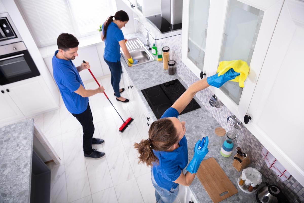 Team of end of tenancy cleaners